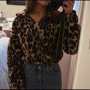 Half Zip Leopard Print Teddy Sweatshirt